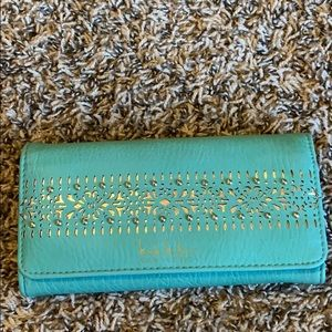 Nicole Miller Teal and Gold Tri-Fold Wallet